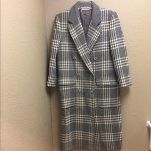 Long, grey, plaid wool jacket by harvé bénard